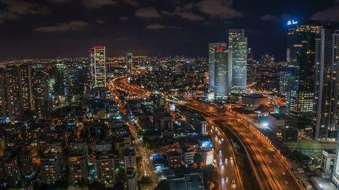 Tel aviv - 22.05.2017: Tel Aviv aerial skyline and Azrieli center hyper-lapse video 4k