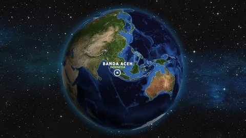 INDONESIA BANDA ACEH ZOOM IN FROM SPACE
