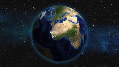 SENEGAL DAKAR ZOOM IN FROM SPACE