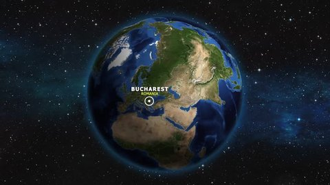 ROMANIA BUCHAREST ZOOM IN FROM SPACE