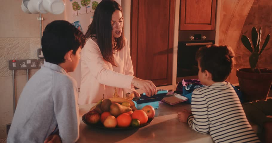 Young mother packing lunch boxes for kids with healthy sandwiches for school | Shutterstock HD Video #1012743533
