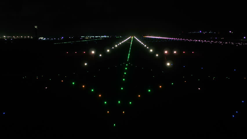 Airport, Air Traffic Control Tower and Airfield at Night. #1012803593
