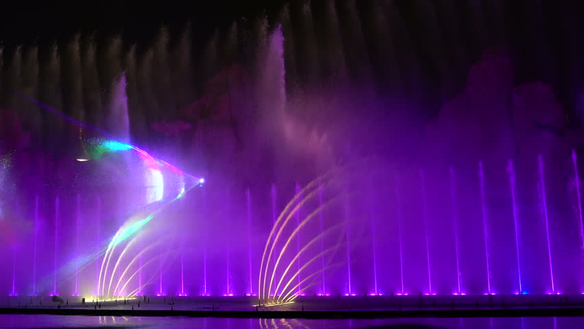 The fountain LightShow in the evening