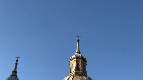 Panoramic view of  Basilica Our Lady of the Pillar. Zaragoza, Spain.