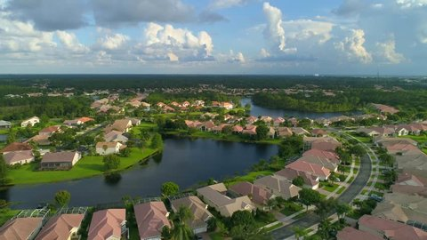 Aerial reveal rising video footage Port St Lucie residential homes