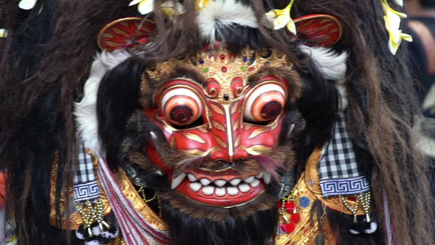 4 in 1 Close up of an animal mask dance during a ritual called Barong in Bali. Considered a native Balinese dance. Represent either ancestral or natural spirits. Footage in normal and slow motion. | Shutterstock HD Video #1012888463