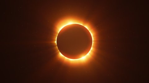 Glowing Bright Twin Flared Solar Eclipse with Light Rays over Starry Sky Loop