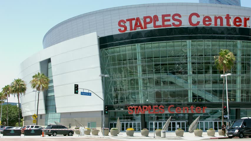 LOS ANGELES, CALIFORNIA, USA - JUNE 22, 2014: View of NBA Staples Center - home to the Los Angeles Lakers and the Los Angeles Clippers of the National Basketball Association in Los Angeles Downtown, C