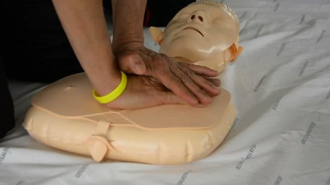 CPR training with CPR doll.