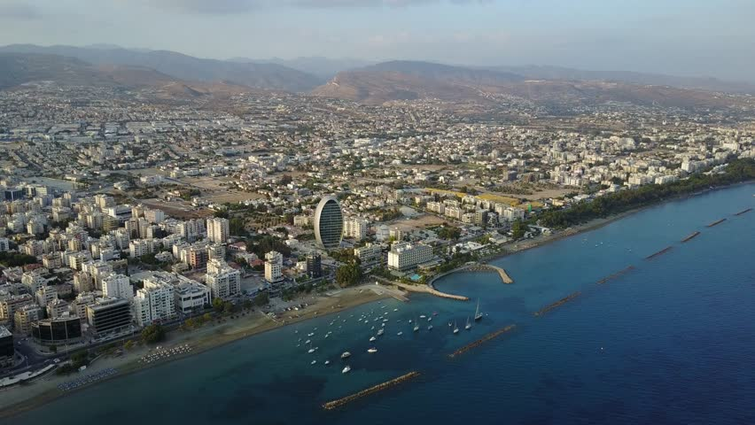Extreme wide aerial landscape of Limassol, Cyprus