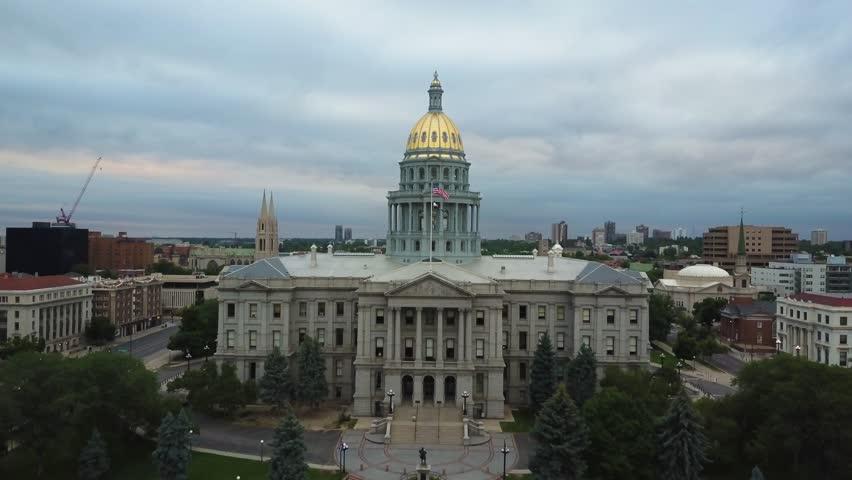 4k aerial drone footage - Colorado State Capitol building, city of Denver.