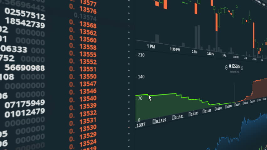 4k Cryptocurrency Trend Graph Real Time Trading Chart Bitcoin Prices Down Digital Money Gain Value Going On The Market