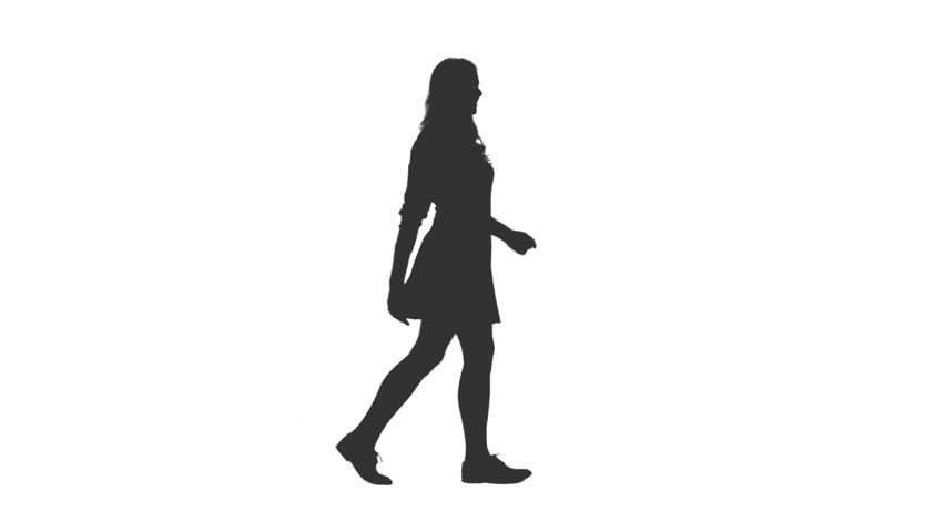 Silhouette of cheerful young woman walking in mini skirt, Side view, Full HD footage with alpha transparency channel isolated on white background