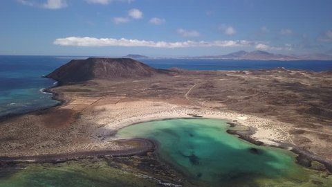 aerial view lagoon of lobos island, fuerteventura, canary islands