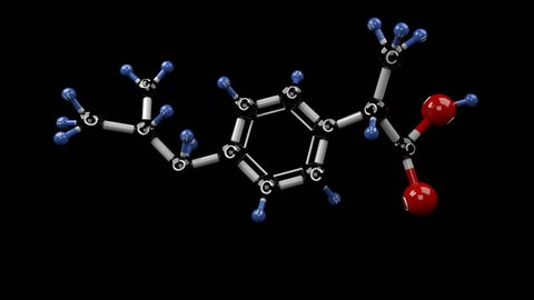 Molecular structure of ibuprofen. Ibuprofen molecule. Treatment for pain, fever and inflammation. Alpha channel.