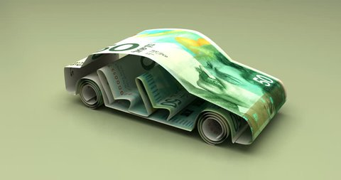 Car Finance with New Israeli Shekel 3D rendering