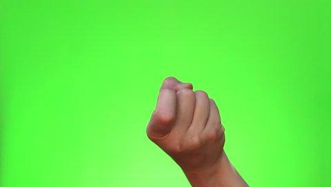 Beckoning finger. Chromakey. Green Screen. Isolated