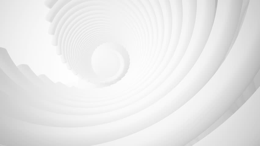 Abstract white interior multilevel public space with window. 3D animation and rendering.