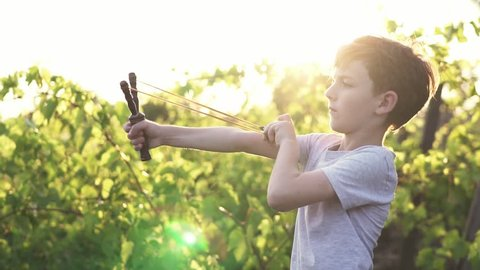 Slow motion a concentrated boy shooting wooden slingshot a pebble at a target against of a green vineyard in the summer at sunset on a sunny day.  A child plays in an active game for boys. Lens flare