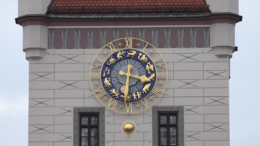 MUNICH - GERMANY, JULY 13, 2014, ULTRA HD 4K Beautiful old public clock with golden zodiac sign by day