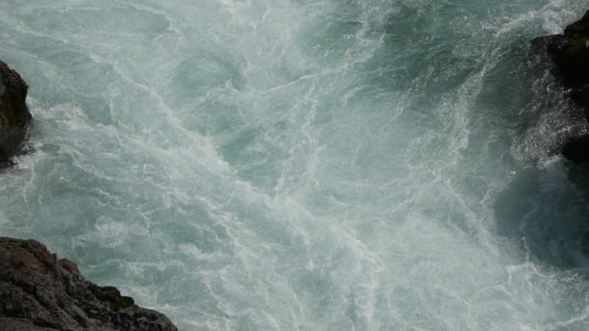 Rapid flow of blue water with foam | Shutterstock HD Video #1013252963
