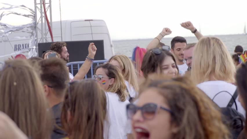 Thessaloniki, Greece, June 2018. People Are Celebrating Pride Day. Slow Motion | Shutterstock HD Video #1013255153