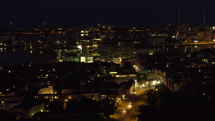 Night time drone flight over Aarhus, Denmark | Shutterstock HD Video #1013260613