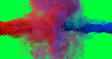 Slow motion of the colourful drops of red and blue colliding on the chroma key background like smoke explosion and mixing. Green screen. Close up. With alpha matte channel.