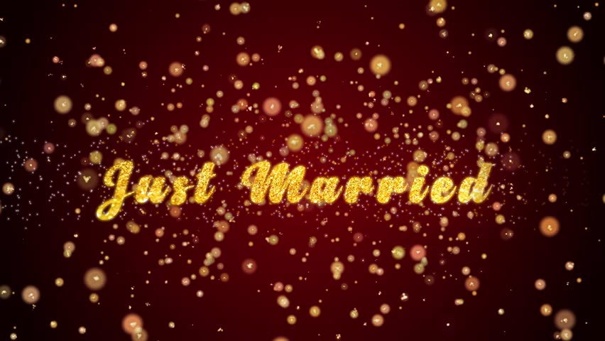 Just Married Greeting Card text with sparkling particles shiny background