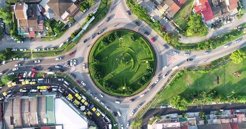 Kuala Lumpur, Malaysia - Drone flying above roundabout