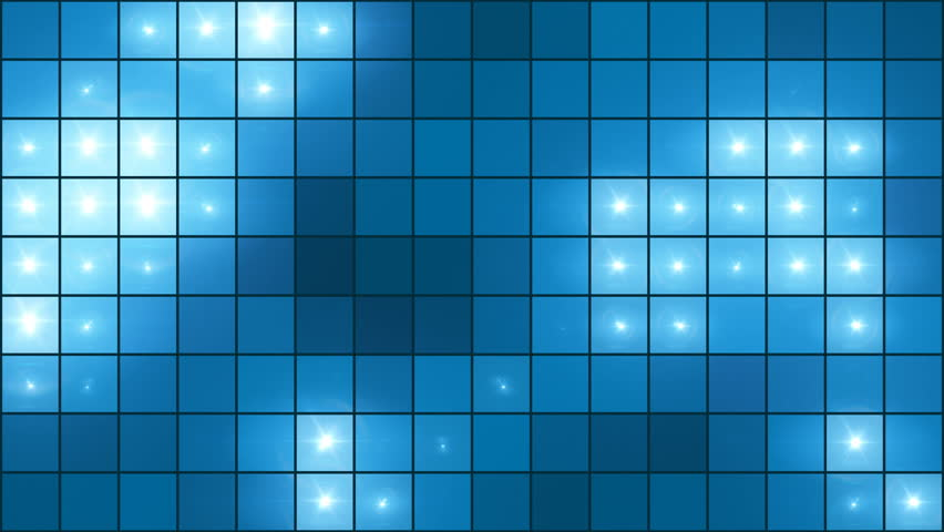 Mosaic Light Show Blue - Illuminated Pixel Grid Video Background Loop /// A 16 by 9 grid showing organic movement of lights. Using a blue color scheme, this video loop suitable for all kind of shows.   Shutterstock HD Video #1013343713