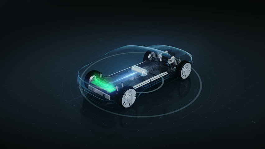 Rotating Electronic, hybrid, lithium ion battery echo car. charge battery, inside view, eco-friendly future car. 4k movie.