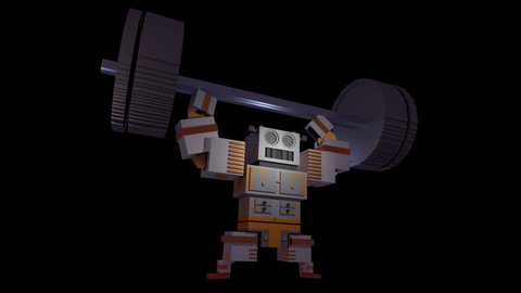 Alpha Channel: A stylized 3d / voxel Weightlifting Robot lifts his Barbell