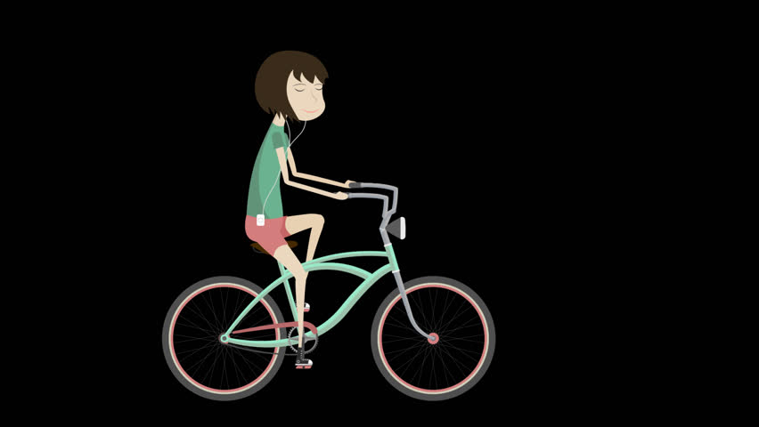 "2D flat animation of the girl on a bicycle and hand lettering with alpha channel.  Animation for teaser, preview, promo, advertisement, presentation, video screensaver. ""Enjoy the Ride"" calligraphy 