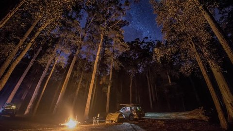 Campfire and Stars over Blue Mountains National Park, NSW, Australia