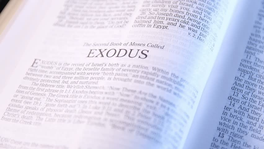 Seattle WASHINGTON - January 10, 2018: Holy Bible, New King James Red-letter Edition, Zoom in on Book of the Bible, Exodus