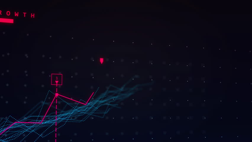 Close up of dark growing graph 3D animation. Black-Red. Linear graph showing growth and positive trends. 4k 3D animation.