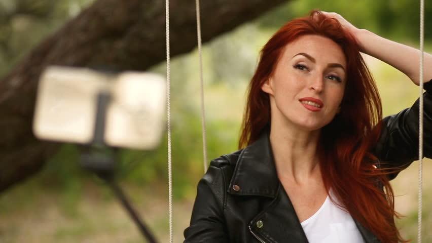 Pretty redhead woman
