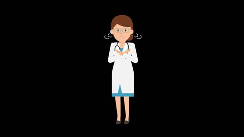 Animated female doctor in a white coat with a stethoscope around her neck being disapproving and showing it with hand gestures