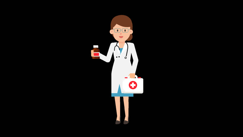 Animated female doctor in a white coat with a stethoscope around her neck is holding a first aid kit in one hand while holding and showing a medicine bottle in the other hand