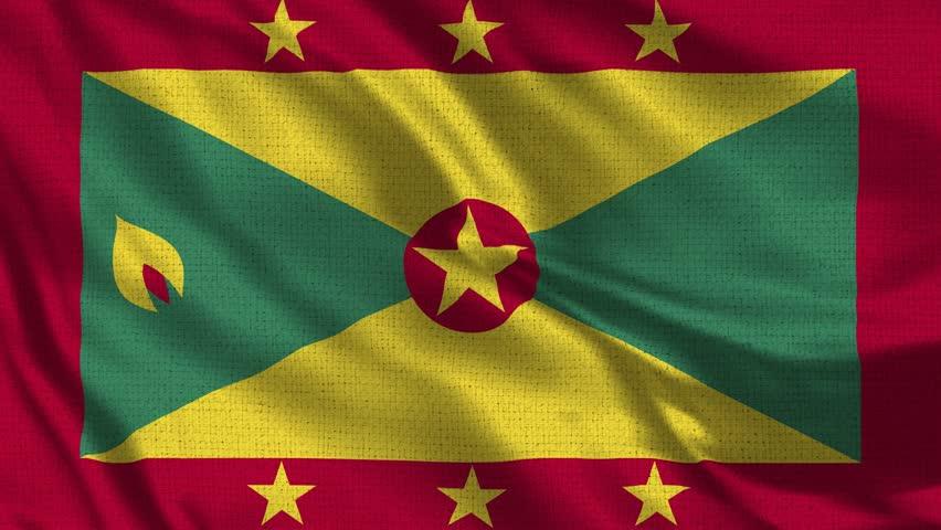 Grenada Flag Loop - Realistic 4K - 60 fps flag of the Grenada waving in the wind. Seamless loop with highly detailed fabric texture. Loop ready in 4k resolution