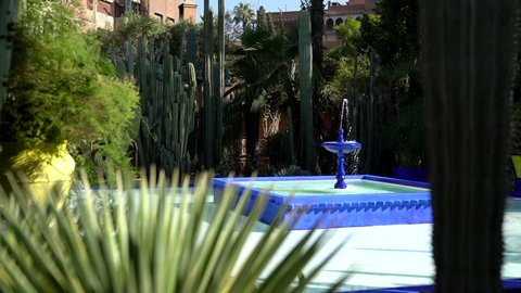 A scenic fountain shot from the Majorelle Garden at Yves Saint Laurent in Marrakech, Morocco.
