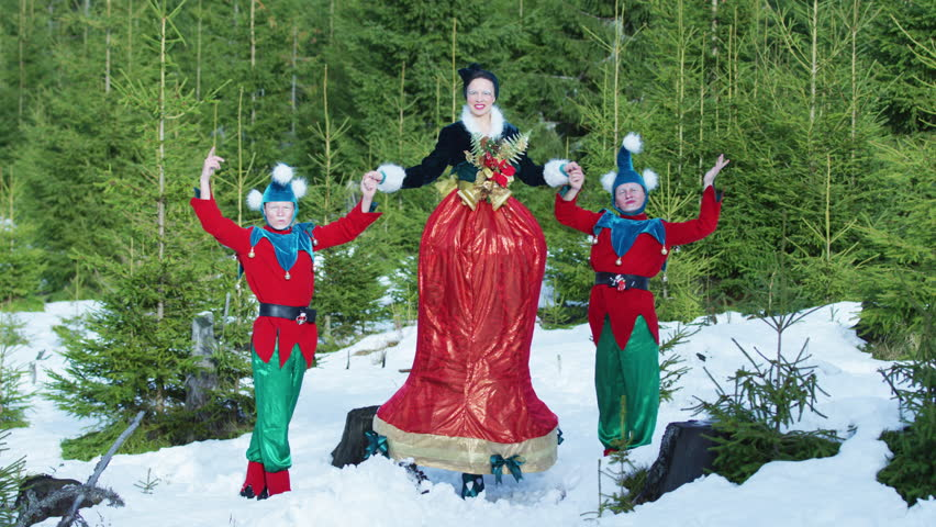 Famous Art - theatre company Romania / Two elves and Tinker Bell character in the forest