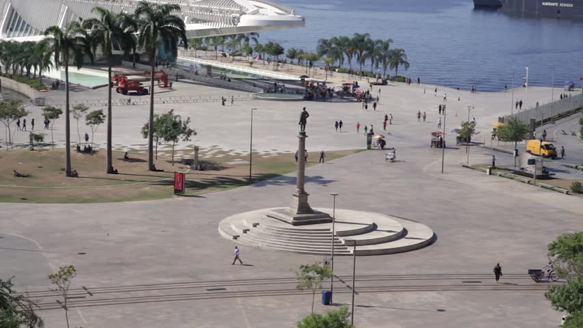 View of the Museum Quarter Square in Rio de Janeiro from higher vantage point with tram passing