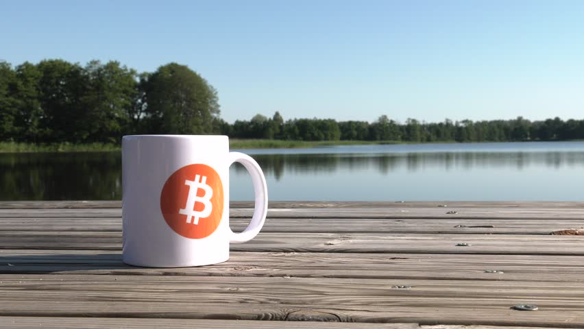Calmness, Quiet, Safe haven. BTC coin as symbol of electronic virtual money for web banking and international network payment. White cup on the lake. Water and Trees. 4K, UHD. | Shutterstock HD Video #1013582453
