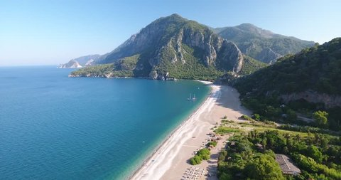 Aerial View of Beach, Sea and Mountain in a sunny day. Olympos and Cirali Beach In Antalya Province.