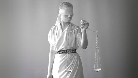 a girl in a stone statue costume. Femida the goddess of justice on a white background in one hand holding the scales. concept art
