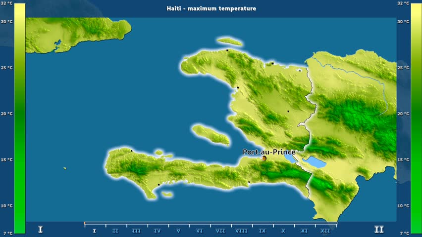 Maximum temperature by month in the Haiti area with animated legend - English labels: country and capital names, map description. Stereographic projection