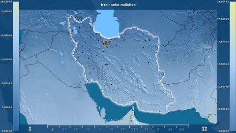 Solar radiation by month in the Iran area with animated legend - English labels: country and capital names, map description. Stereographic projection