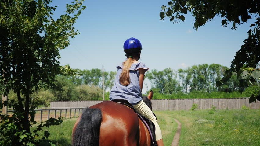 Rear view of a little girl riding a horse in a protective helmet. Back view. Steadicam slow motion video. Closeup | Shutterstock HD Video #1013677013